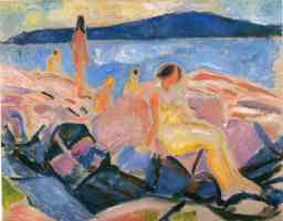edvard munch expressionist bathing on the rocks