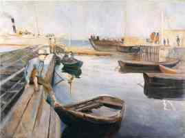 edvard munch expressionist boy getting on to row boat