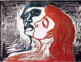 edvard munch expressionist lovers woodcut