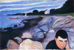 edvard munch expressionist man at rocky shore