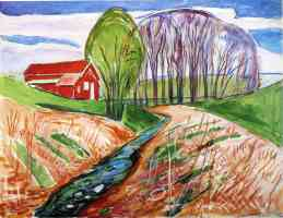edvard munch expressionist red house