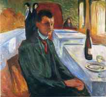 edvard munch expressionist self portrait with a wine bottle