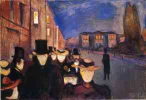 edvard munch expressionist sunset at paseo with karl johann