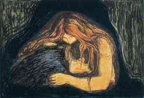 edvard munch expressionist the vampire woodcut