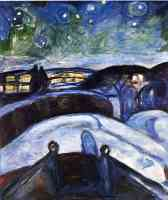 edvard munch expressionist winter night with stars