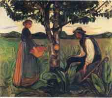 edvard munch expressionist woman and man under a tree