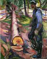 edvard munch expressionist woodsman with felled tree