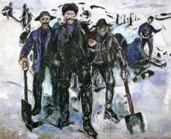 edvard munch expressionist workers with shovels in the snow