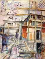 edvard munch expressionist workmen building a house