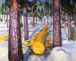 edvard munch expressionist yellow tree trunk