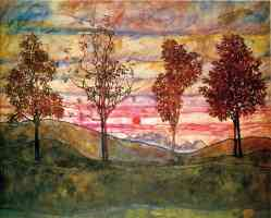 egon schiele expressionist four trees