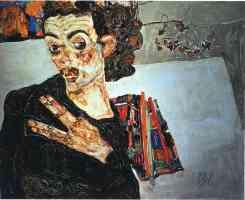 egon schiele expressionist portrait black vase
