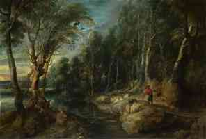 peter paul rubens flemish baroque a shepherd with his flock in a woody landscape