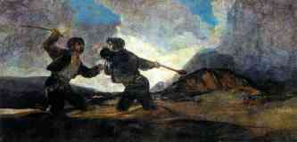 black paintings francisco goya fight with cudgels