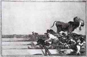 bullfighting francisco goya bull escaped into the crowd