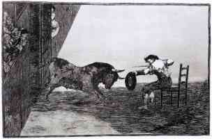 bullfighting francisco goya fighting a bull while sitting on a chair