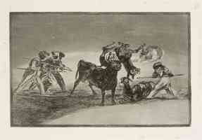 bullfighting francisco goya moorish barrier made with donkeys