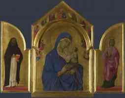 duccio di buoninsegna gothic the virgin and child with saints dominic and aurea
