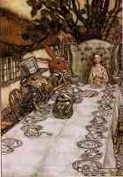 arthur rackham illustration alice in wonderland a mad tea party