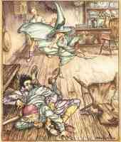 arthur rackham illustration king of the golden river so there they lay all three