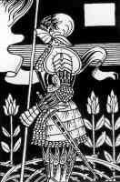 aubrey beardsley illustration knight in plate armour