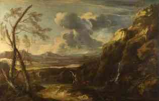 salvator rosa italian baroque landscape with tobias and the angel