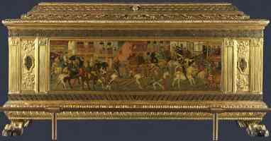 florentine italian renaissance cassone with a tournament scene 1