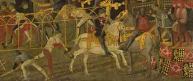 florentine italian renaissance cassone with a tournament scene