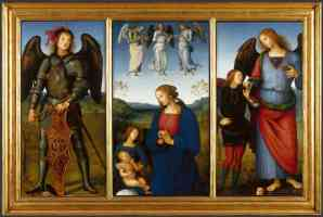 pietro perugino italian renaissance three panels from an altarpiece certosa