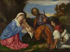 titian italian renaissance the holy family with a shepherd