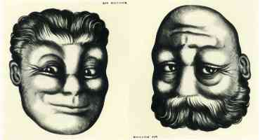 joge e two way face optical illusion rex whistler hair bald and bearded
