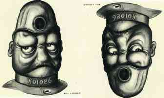 joge e two way face optical illusion rex whistler policeman and sailor