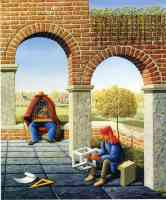 jos de mey optical illusion arches and birdcage man