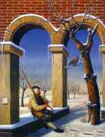 jos de mey optical illusion piper sitting under arch by a tree