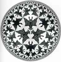 m c escher optical illusion bat plate pattern
