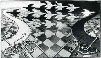 m c escher optical illusion birds and landscape mix