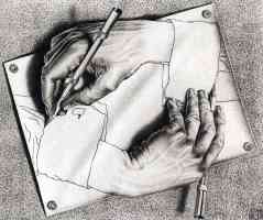 m c escher optical illusion drawing oneself