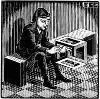 m c escher optical illusion man with cuboid