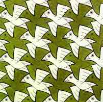 m c escher optical illusion symmetry watercolor 106 bird