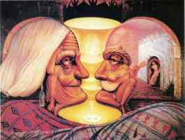 octavio ocampo optical illusion old man and old lady with guitar player