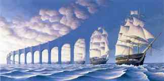 rob gonsalves optical illusion bridging the seas with a boat