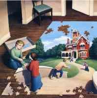 rob gonsalves optical illusion jigsaw house