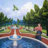 rob gonsalves optical illusion small giant green birds at fountain
