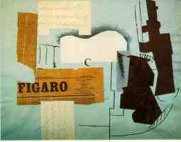 picasso 1910s guitar magazine glass and bottle