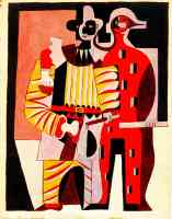 picasso 1920s pierrot and harlequin in the summer
