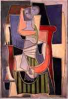 picasso 1920s woman sitting in a chair