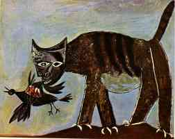 picasso 1930s cat eating a bird