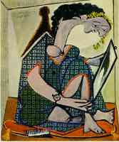 picasso 1930s crouching woman with painting