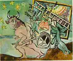 picasso 1930s minotaur transporting a mare and foal