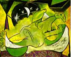 picasso 1930s naked woman lying down under the stars